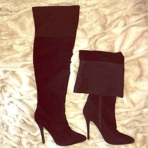 Black Suede Over the Knee (OTK) Boots by ABS